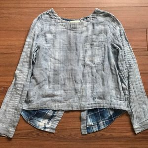 Cloth and Stone striped button back top-NWOT